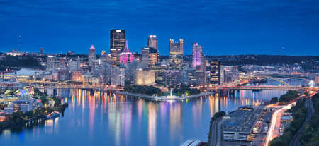 Panorama photo of Pittsburg at the blue hour time