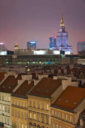 Photo of Warsaw downtown buildings at the night time