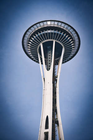 Photo of a lower view of the Space Needle in Seattle 스톡 콘텐츠
