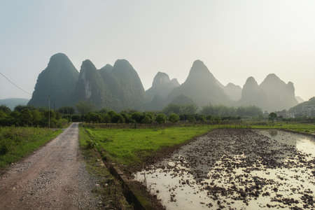 Photo of the Karst mountains in Yangshuo China 스톡 콘텐츠