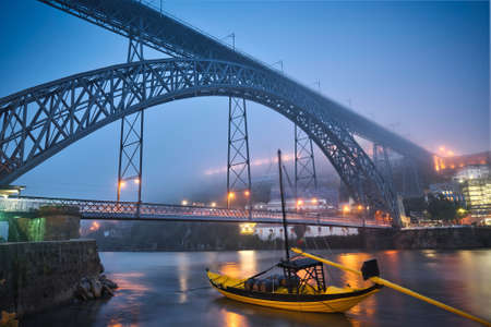Photo of the Porto city in Portugal at the blue hour time 스톡 콘텐츠