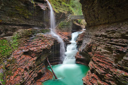 Photo of the falls at the Watkins glen national park in NY