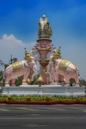 Photo of the statue of the pink elephante in Bangkok Thailand