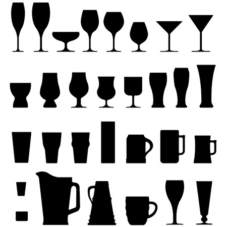 A large set of vector silhouettes of alcohol and coffee drink glasses, cups, and mugs. Illustration