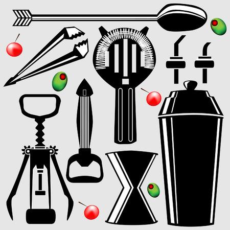 bartend: Bartending Tools in Vector silhouette - corkscrew, shaker, strainer, bottle opener, stirrer, olive, and cherry