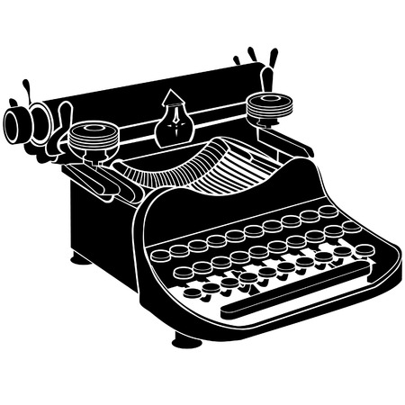 silouette: Detailed vector illustration of a manual typewriter
