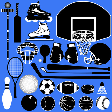 raquet: Sports equipment and balls in detailed vector silhouette