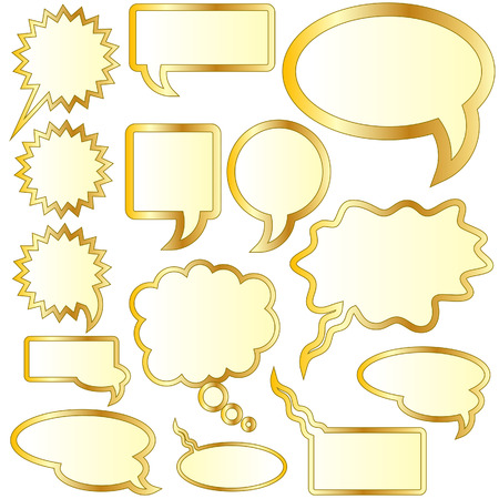 monologue: Thought or speech bubble stickers in gold vector