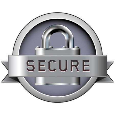 encrypted files icon: Secure badge with padlock in stainless steel vector