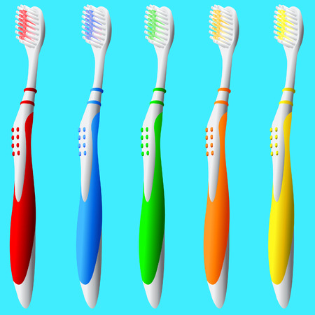 Detailed vector illustration of brightly colored toothbrushes.