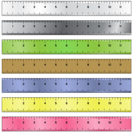 develop: Detailed vector illustration of common measurement rulers Illustration