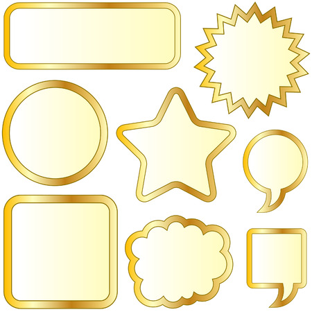 Thought or speech bubble stickers in gold vector Vector