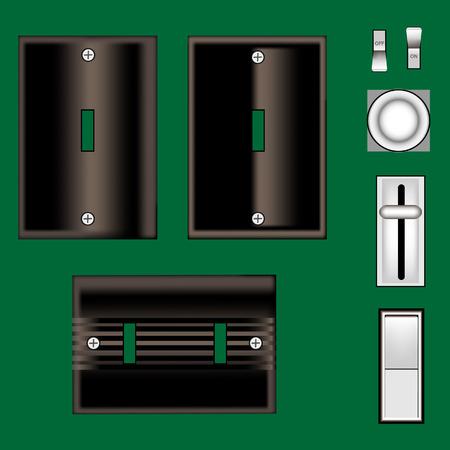 Light switches and faceplates with glossy black texture - vector set Illusztráció