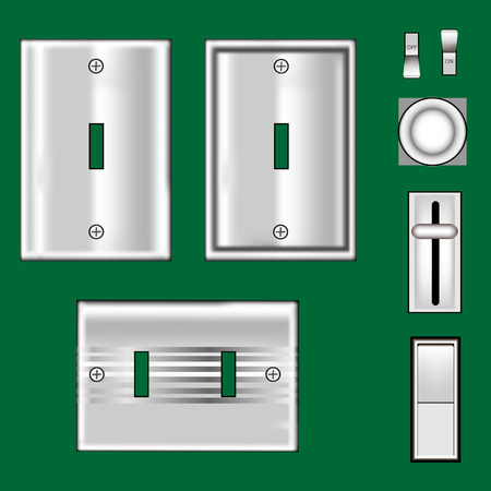 Light switches and faceplates with stainless steel texture - vector set