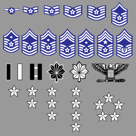 lieutenant: Air Force Officer and Enlisted Rank Stripes Insignia for Uniforms Illustration