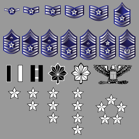 admiral: Air Force Officer and Enlisted Rank Stripes Insignia for Uniforms - Textured Vector