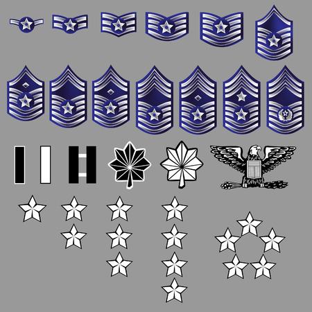 luitenant: Air Force Officer en soldaat Rank Stripes Insignes voor Uniformen - Getextureerde Vector