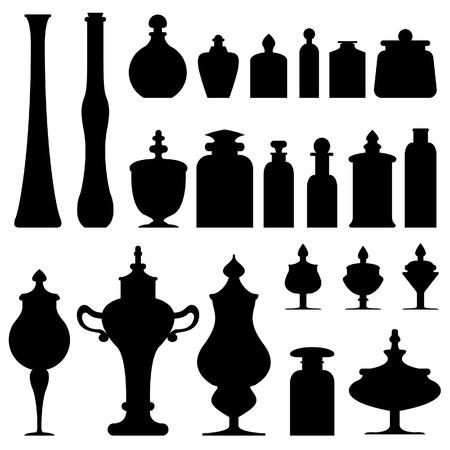 herboristeria: Antiguos jarrones, botellas, tarros y urnas de un boticario, herborista, o tienda de t� - silueta conjunto de vectores