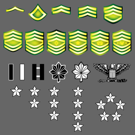 general: US Army rank insignia for officers and enlisted in vector format with texture Illustration