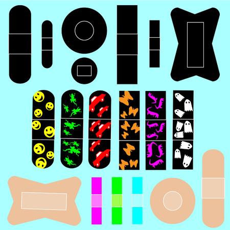 Pleisters in verschillende vormen en maten, waaronder bandages kinderen Stock Illustratie