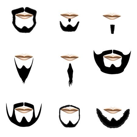 Baard en gezicht haren stijlen in vector silhouet Vector Illustratie