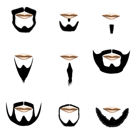 Beard and facial hair styles in vector silhouette Vector