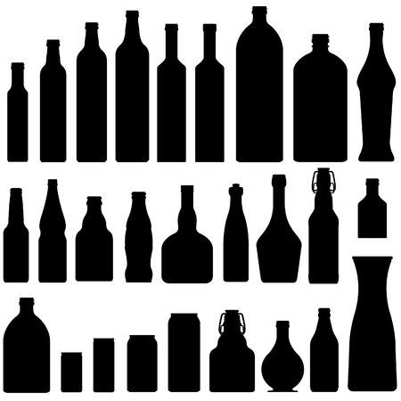 vino: Bottles and jars set in vector silhouette