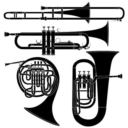 Latón instrumentos musicales en conjunto detallado de vectores silueta Ilustración de vector