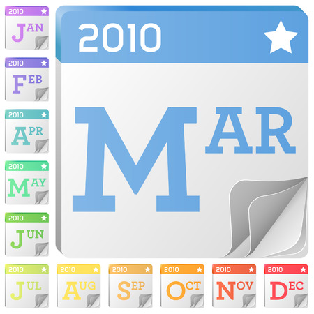 2010 Month Calendar Icons - Each month has its own graphics for use on websites, print or desktop applications