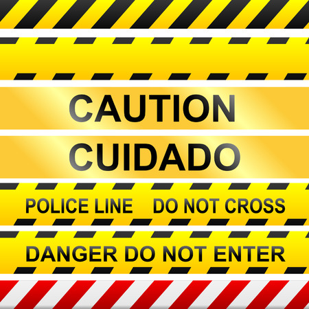 Caution tape and warning signs in seamless vector Illustration