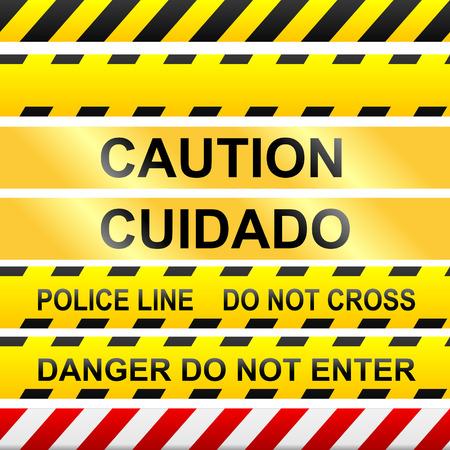 Cinta de precaución y señales de advertencia en el vector sin fisuras