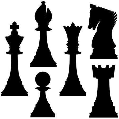 Piezas de ajedrez en la silueta del vector incluyendo rey, reina, torre, peón, caballero, y el obispo