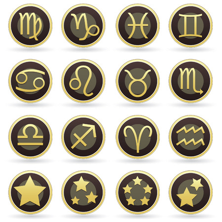 Zodiac astrology brown and gold vector button set