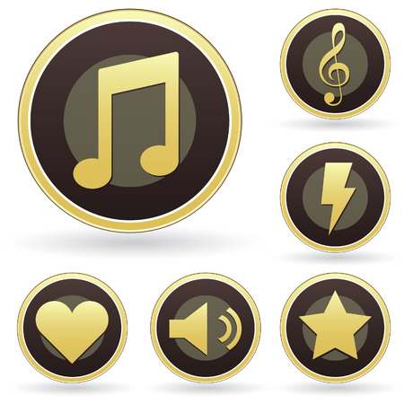 Music appreciation icons on vector button set Vector