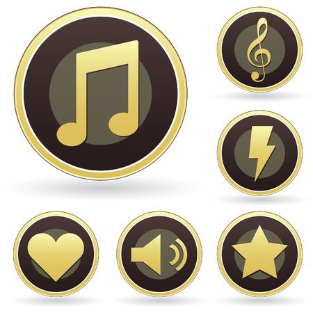rayo electrico: Reconocimiento de los iconos de la m�sica de vectores botones Vectores