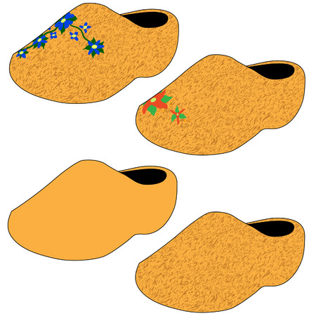 klompen: Wooden shoes with various textures and decorations - vector illustration