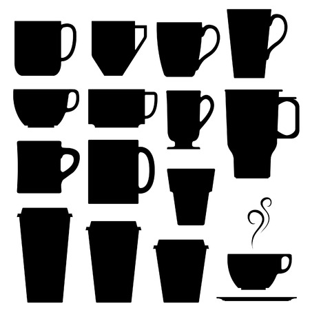 A set of vector silhouettes of coffee and beverage mugs and cups. Vector