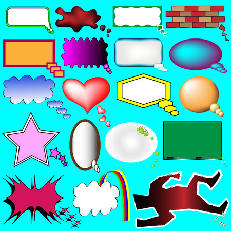 Creative thought and speech bubbles from comics and cartoons - colorful vector set Vector