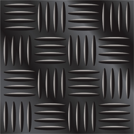 tread: Vector illustration of dark metal large cross hatch tread background