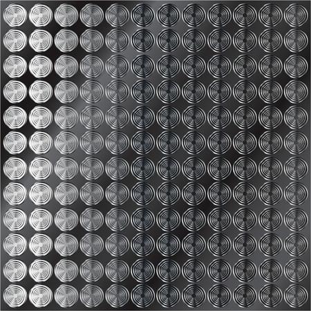 Vector illustration of dark shiny metal tiered circle pattern background Çizim