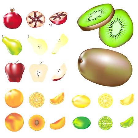 lemon lime: Illustrazione vettoriale assortimento di frutta compresi kiwi, arancia, limone, limone, mela, pesca, pera