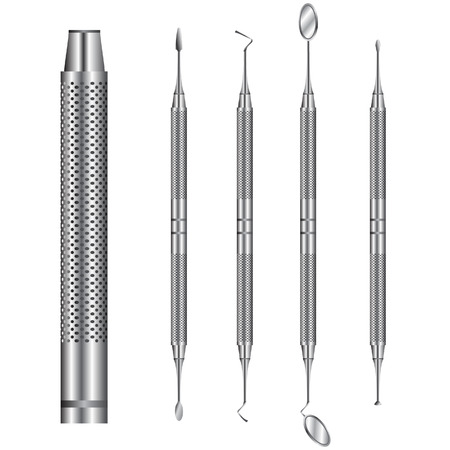 A detailed vector of common dentists tools. Vector
