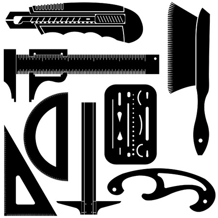 Detailed vector illustration of common drafting and engineering tools including T square, French curve, triangle, protractor, utility knife, and erasing shield. Vector