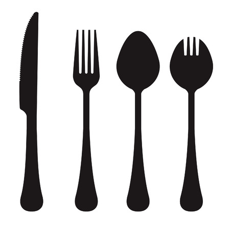 silver ware: Vector silhouettes of knife, fork, spook, and spork.