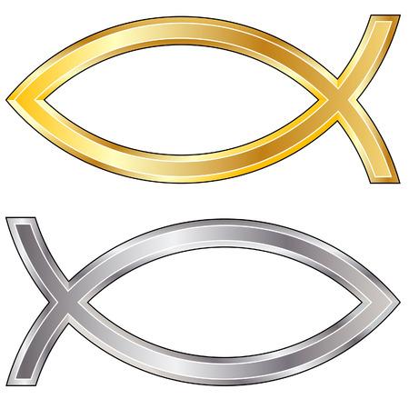 christian fish: Christian peces icono en plata y oro de vectores textura - Parece que las personas se aferra a los peces en sus coches Vectores