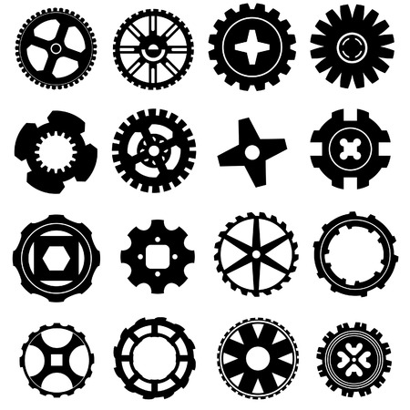 Vector silhouettes of gears, wheels, and rims.