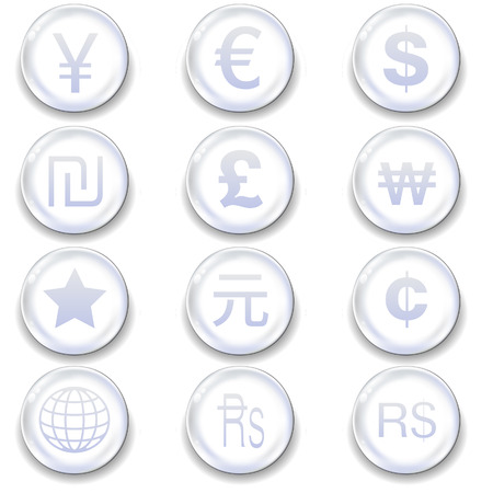 International currency icons on glass orb vector button set