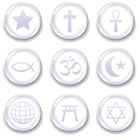World religious icons on glass orb vector button set Illustration