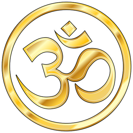 Hindu om icon in shiny gold Vector