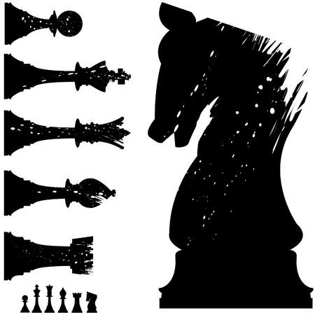 chess knight: Silhouette vettoriale di pezzi degli scacchi in stile grunge
